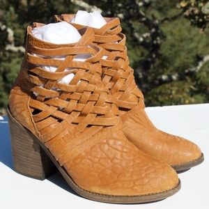 Free People Career Woven Tan Boots 37 7